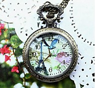 Women's Retro Rose And  French Tower Quartz Movement Necklace Watch