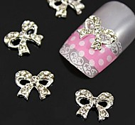 10pcs   Clear Rhinestone Bow Tie Alloy Fingernail Accessories Nail Art Decoration