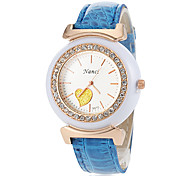 Women's Diamante Round Dial PU Band Quartz Analog Casual Watch (Assorted Colors)