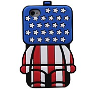 Ci 3d cassa di gomma del silicone del modello del robot bandiera per iphone4 / 4s