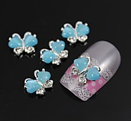 10pcs Flying Butterfly with Blue Cat's Eye Stone 3D Alloy Nail Art Decoration