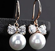 Z&X®  Fashion Top Grade Round Pearl Bow Earrings