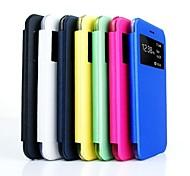 estojo de couro pu caso capa dura com vista janela para iphone 6 (cores sortidas)