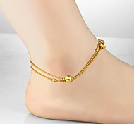 Fashion Accessories Creative Ms Lucky 18 K Gold Plated Double Anklets