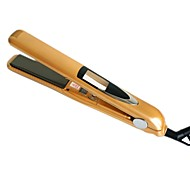 LOOF Newest 360 Rotating  Vibrate Plate Titanium Hair Straightening Flat Iron - Yellow (110~240V EU Plug)