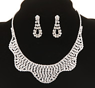 Vintage Diamanted Wave Shape Silver Jewelry Set(Necklace&Earrings)(1 Set)