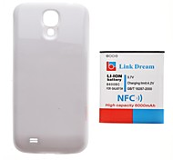 Link Dream   Thickened Cell Phone Battery with NFC +  White  Back Cover for Samsung Galaxy S4 i9500(6000mAh)