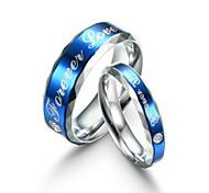 Fashion Lovers Titanium Steel Blue Surface Finger Ring Forever Love