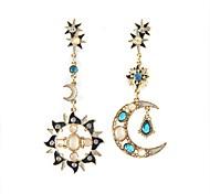 nueva moda de imitación étnica luna de cristal y sol aretes para las mujeres