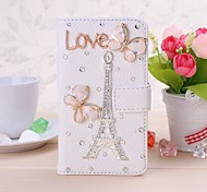 DIY Butterfly and Eiffel Tower Pattern Leather Full Body Case for Nokia Lumia 620 N620