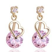 Women New Fashion Best Sellers Heart Design Zircon Stud Earrings