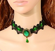 Necklace Choker Necklaces / Collar Necklaces / Statement Necklaces / Vintage Necklaces Jewelry Wedding / Party Fashion Lace Black / Green