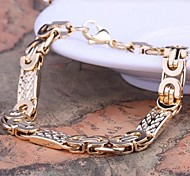 Men's Fashion Personality Titanium Steel Electroplate Gold Flat Shape Bracelets