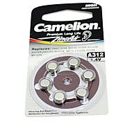 6pcs Camelion zinc audífono a312 1.4v baterías de aire de plata