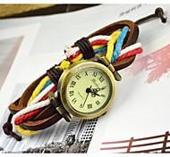 coloful de mode tissé la montre bracelet en cuir des femmes