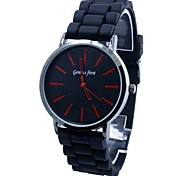 Men's Round Dial Silicone Band Quartz Wrist Watch (Assorted Colors)