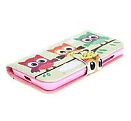 Для Кейс для Nokia Кошелек / Бумажник для карт / со стендом Кейс для Чехол Кейс для Сова Твердый Искусственная кожа Nokia Nokia Lumia 630