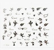 3D Nail Accessory False Nail Art Stickers Decals Silver Cartoon for Nail Tips DIY Nail Art Decorations