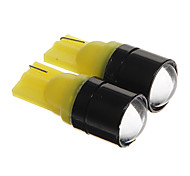 T10 1.5W COB 120LM Yellow Light LED Bulbs for Car Instrument/Side Marker Lamp(DC12V 2pcs)
