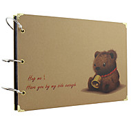 Aimai Delicate Cover Design of Bear Pattern Photo Album with Cover Protector(450g Black/Kraft Card)