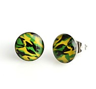 Fashion Green Camouflage Stainless Steel Stud Earrings