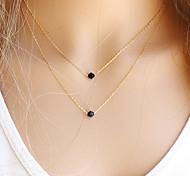 Жен. Ожерелья с подвесками Слоистые ожерелья Кристалл Драгоценный камень Естественный черный Круглой формы Драгоценный камень Хрусталь