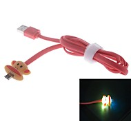 Big Mouth Monkey Cartoon Style  LED USB to Micro USB  Data / Charging Cable for Samsung / HTC / Nokia (100cm)