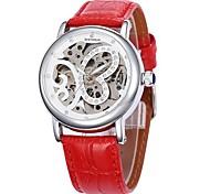 Frauen hohlen Schmetterling Wahllederband Auto-mechanische Armbanduhr (farbig sortiert)