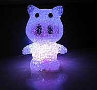 Pig EVA Crystal Color-changing Night Light