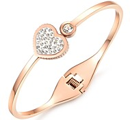 Fashion Tin Alloy 18K Gold Plated Women Heart Bangles (1 Pc)
