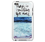 Ocean Waves Leather Vein Pattern PC Hard Case for iPod touch 4