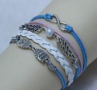 Vintage Owl wings 8 18cm Unisex  Leather Wrap Bracelet(1 Pc)