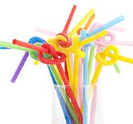 multicolor palhas partido plástico flexível (100 / pacote