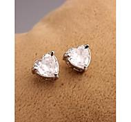 Korea Fashion Heart Crystal Gold Plated Stud Earrings for Women in Jewelry