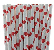 Heart Design Paper Drinking Straws Sweet Paper Straws for Wedding Birthday Party (25 PCS)