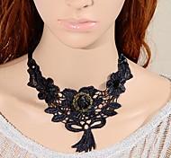 European Fashion Vintage Big Black Rose Gothic Style Lace Necklace