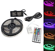 waterdichte 5m 300x5050 smd rgb licht led strip lamp met 44-toets afstandsbediening set (12v)