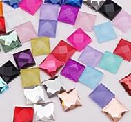 Z&X®  10MM 50 PCS DIY Candy Color Square Decorative Flat Rhinestone(Random Color)