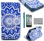 coco fun® blauwe pauw pu lederen full body case met screen protector, staan ​​en stylus voor de iPhone 4 / 4s