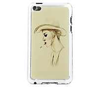 Woman Smoking Leather Vein Pattern PC Hard Case for iPod touch 4