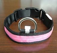 Adjustable Fashionable Flashing Nylon LED Light Pet Dog Collar Safety Collar for Christmas (DD-WT, Pink, XL)