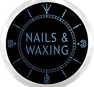 Nails & Waxing Beauty Salon Saloon Neon Sign LED Wall Clock