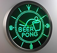 nc0395 Beer Pong Bar Game Sport Club Neon Sign LED Wall Clock
