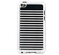 Black White Stripes  Leather Vein Pattern PC Hard Case for iPod touch 4