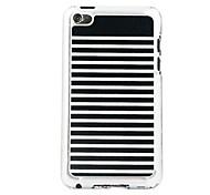 rayas blancas vena de cuero patrón pc estuche rígido negro para el iPod touch 4