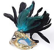 Green Feather PS Half Face Masquerade Mask