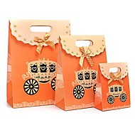 Coway 3Pcs The Orange Pumpkin Car Fastener Bag Cartoon Fashion Party Paper Gift Bag Set