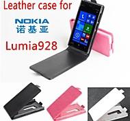 vendita calda 100% cassa di cuoio dell'unità di elaborazione del cuoio di vibrazione per Nokia lumia928 su e giù per smartphone a 3 colori