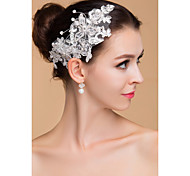 Women's Lace / Rhinestone Headpiece-Wedding Flowers Clear