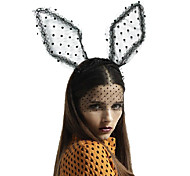 Sweet Rabbit Ear Shape Black Lace Fabric with Little Black Spotty Headbands Middle Size
